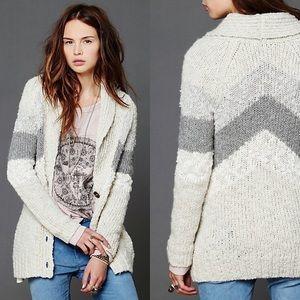 Free People Askew Chevron Chunky Cardigan Sweater